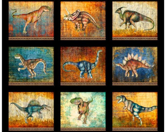 Lost World Realistic Dinosaur Dan Morris QT Fabrics Black Teal Beige 1 Yard Panel 26797-J
