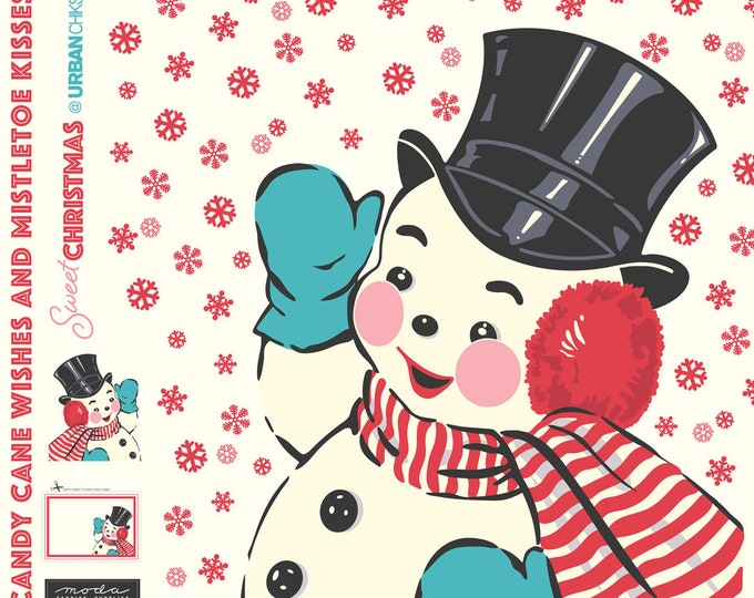 Moda Sweet Christmas Urban Chiks Digital Snowman Holiday Applique Panel Fabric 65 x 57