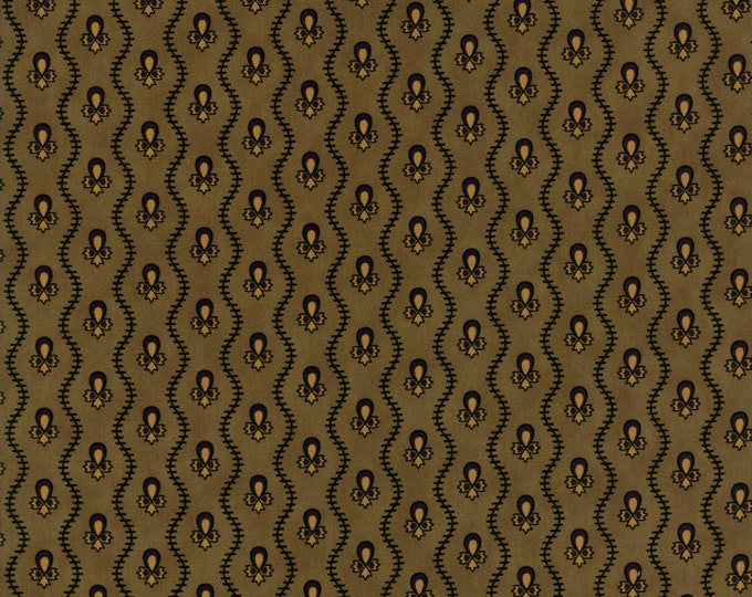Moda New Hope Jo Morton Green Pine Wavy Lines Floral Vines Civil War Fabric 38037-16 BTY