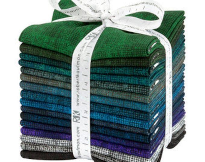 Kaufman Chalk and Charcoal Jennifer Sampou Cool Color Story Blue Purple Green 16 Fat Quarter Fabric Bundle