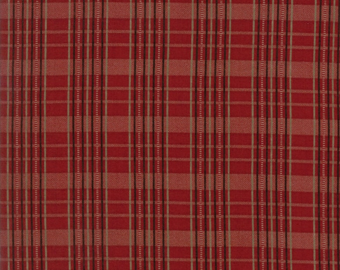 Moda Betsy Chutchian Hopes Journey Wild Strawberry Civil War Red Tan Plaid Fabric BTY 31533-12