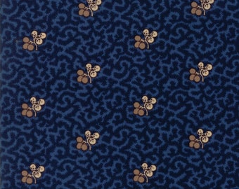 Moda Betsy Chutchian Hopes Journey Civil War Night Sky Navy Blue Berry Branch Leaf Fabric BTY 31530-15