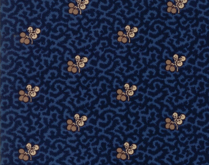 Moda Betsy Chutchian Hopes Journey Civil War Night Sky Navy Blue Berry Branch Leaf Fabric BTY 31530-15