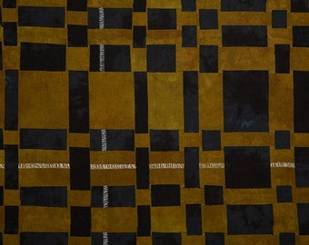 RIVERWOODS Basketweave Gold Black Over Under by Marcia Derse 1 yard fabric BTY