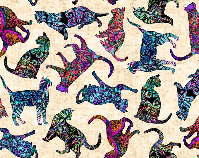 Quilting Treasures Purr Suasion Dan Morris Tossed Cats Kitty Cat Ecru Cream Fabric 26644-E BTHY
