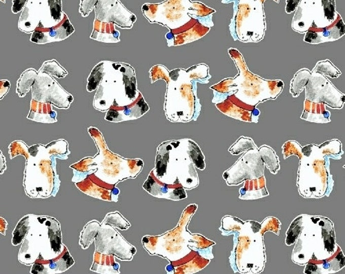 Windham Take Me Home Gray Grey Charcoal Dog Puppy Face Fabric 42988-2 BTHY