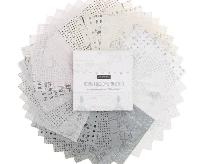 Moda More Paper Zen Chic Modern Backgrounds Gray White Cream 5 x 5 Modern Charm Squares Fabric