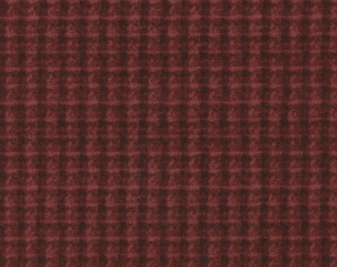 Maywood WOOLIES Red Brick Black Double Weave Plaid 18504-R Flannel Fabric BTY