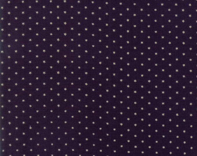Moda Liberty Gatherings Navy Deep Blue with Cream Tan White Star Fabric 1205-14 BTY