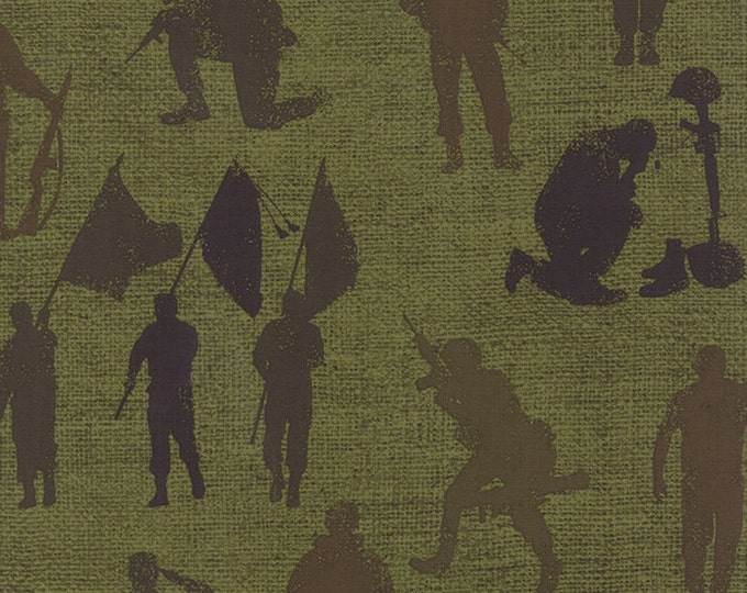 Moda Because of the Brave Green Army Soldier Weave American Patriotic Burlap Fabric BTY