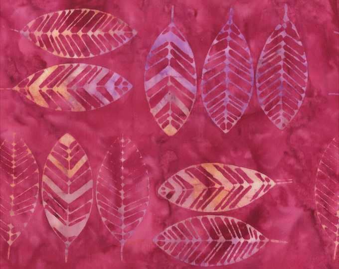 Anthology Art Inspired Batik Jacqueline's Desire Romance Magenta Pink Leaf Fabric 314Q-8 BTY
