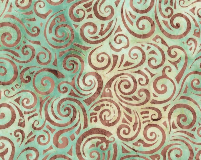 Anthology Art Inspired Batik Pierre Renoir Girls At the Piano Twist Green Brown Swirl Fabric 253Q-2 BTY
