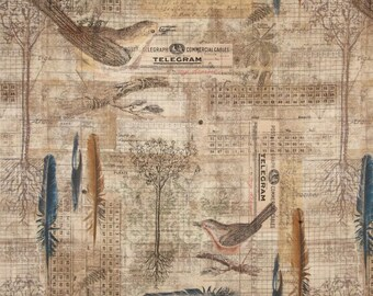 Tim Holtz - Avairy- Bird Menagerie Blue Nest Bird Writing Fabric PWTH034 BTHY