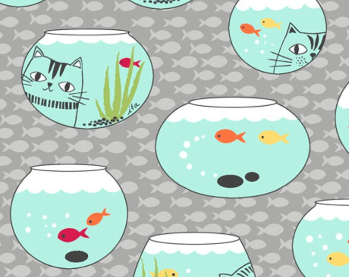 Ink and Arrow Quilting Treasures Cat Fish Bowl on Gray Grey 26729-K Fabric BTY
