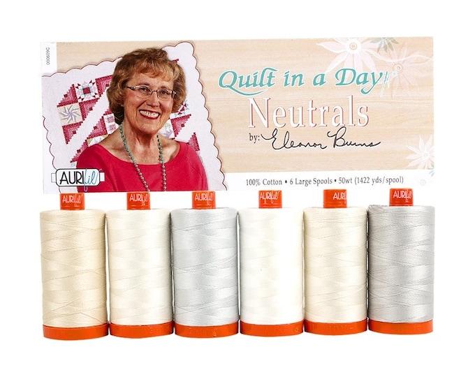 AURIFIL Set of 6 MAKO 50 Wt Quilt in a Day Neutrals Eleanor Burns Neutral Basics Quilting Thread