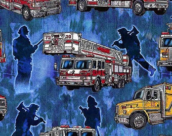 5 Alarm Fire Fighter Fireman Truck Flame Blue 26291-B Fabric BTY