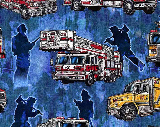 Quilting Treasures 5 Alarm Fire Fighter Fireman Truck Flame Blue 26291-B Fabric BTY