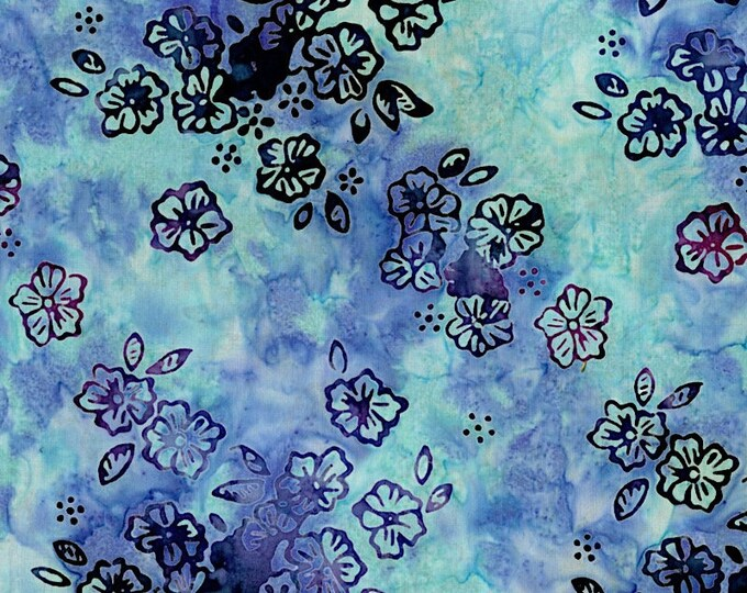 Flaurie and Finch Blossom Batik Valley Floral Purple Blue Fabric 3099-003 BTY