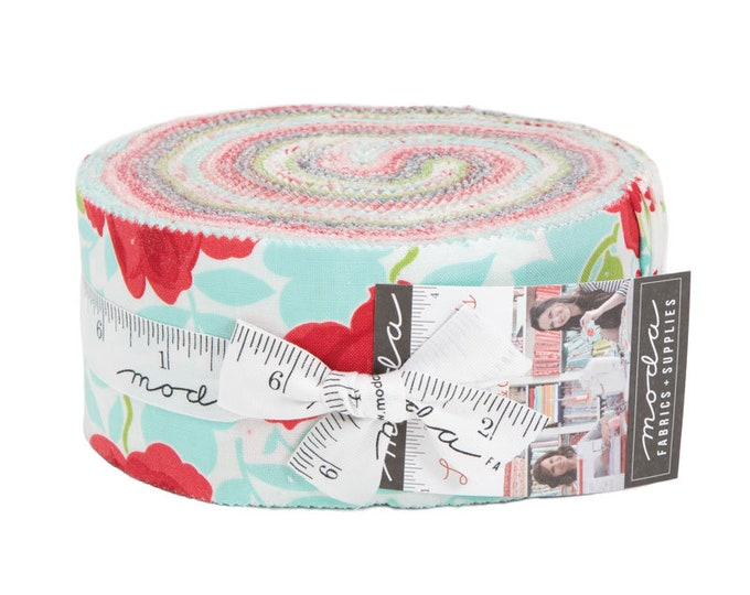 Moda Bonnie and Camille Little Snippets Floral Pink Aqua Blue Green Jelly Roll 2.5 Fabric Strips
