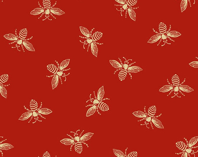 Andover Riviera Rose Renee Nanneman Red Crimson Beige Honey Bee Bug Insect Fabric 9084-R BTY