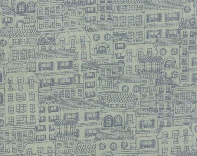 Moda Mon Ami Basic Grey Gray Blue Building Houses Fabric BTY 30416-19