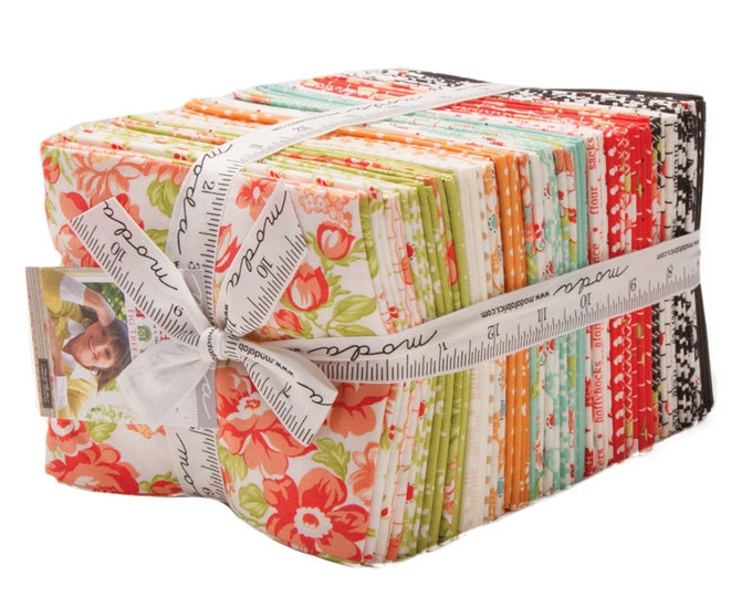 Moda  Farmhouse II 2 by Fig Tree Co Floral Shabby Chic Pink Green Blue 40 Fat Quarters Fabric