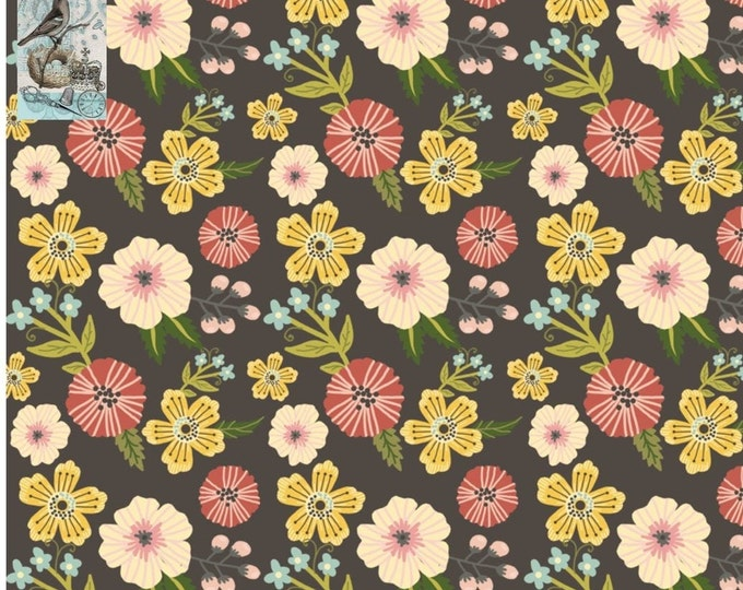 Prairie Sisters by Poppie Cotton Gray Ruth Floral PS19006 Cotton Fabric BTY