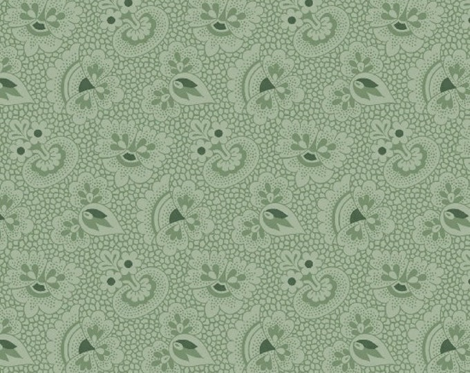 Marcus Cozies Sarah J Cream Light  Green Floral Cozy Flannel Fabric 2115-0214 BTY