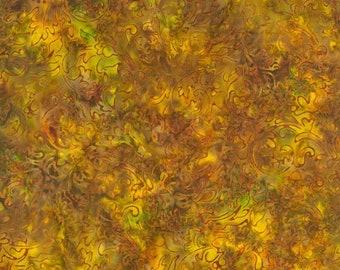 RJR Malam Jinny Beyer Batik Fabric Yellow Rust Green Brown Leaf 1768-004 BTY