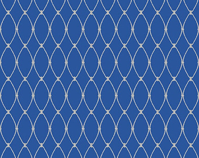 Henry Glass Calming Tide Fishing Net 1776-77 Blue quilting Fabric Cotton BTY