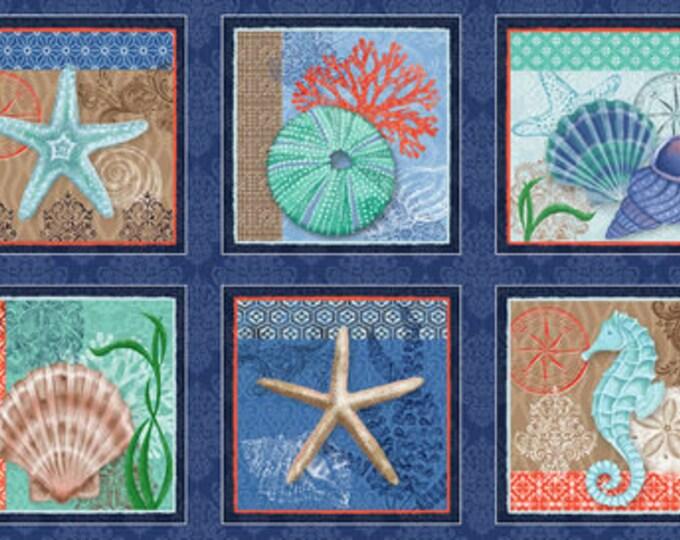 Studio E Fabrics Coastal Dreams Ocean Beach Urchin Shell Seashell Fish Fabric 4854-77 BTP 24 x 42