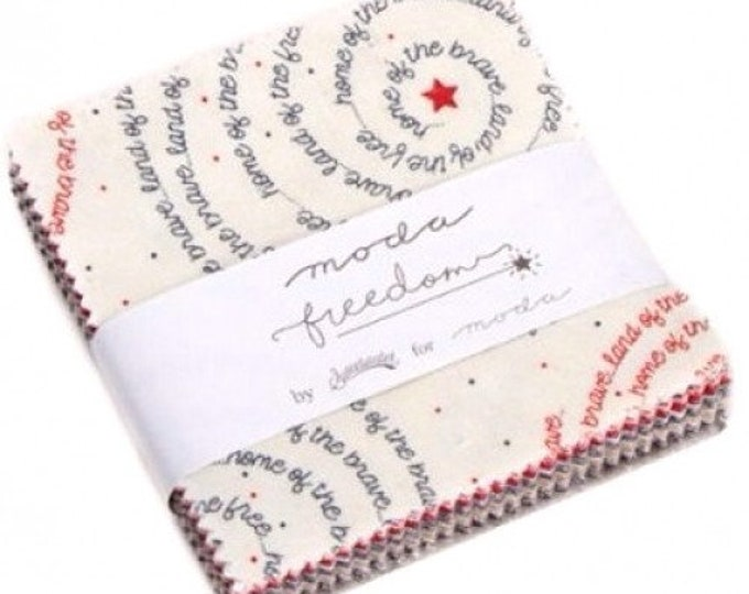 Moda Freedom Sweetwater Patriotic Red White Blue Beige 3.5 x 3.5 Treat Charm Squares Fabric