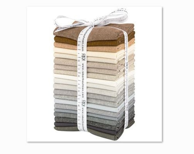 Kaufman Chalk and Charcoal 20 Fat Quarter Grey Brown Essex Linen Fabric Bundle
