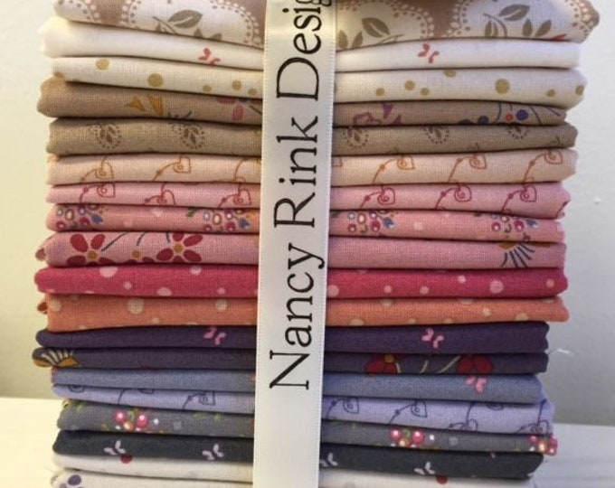 21 Marcus Nancy Rink Plumberry Lane Purple Pink Cream Floral Fat Quarters Fabric