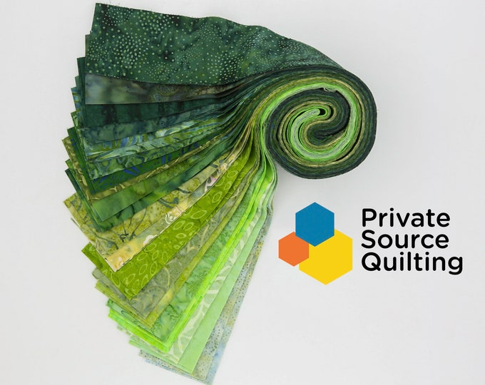 PSQ Exclusive Balilicious Batik KELP Kelly Green Hunter Forest Jelly Roll 40 2.5 Inch Fabric Strips