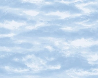 Wilmington Prints After the Snow Blue Sky Cloud Cloudy Fabric 72256-441 BTY