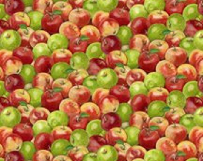 Wilmington Prints Apple A Day Repeating  Red and Green Packed Apples Directional Cotton 68763-375  BTY