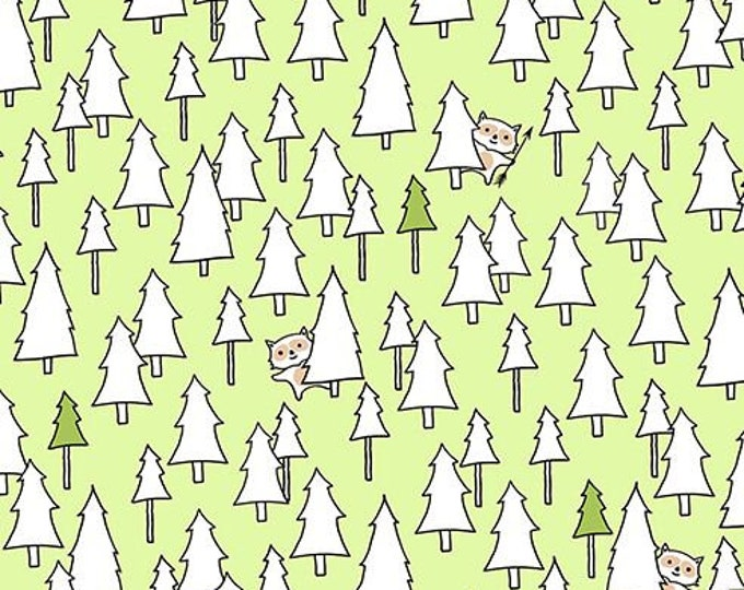 QT Fabrics Ink and Arrow Fabrics Camp S'mores Smores Green Trees Camping Trailer Fabric BTY