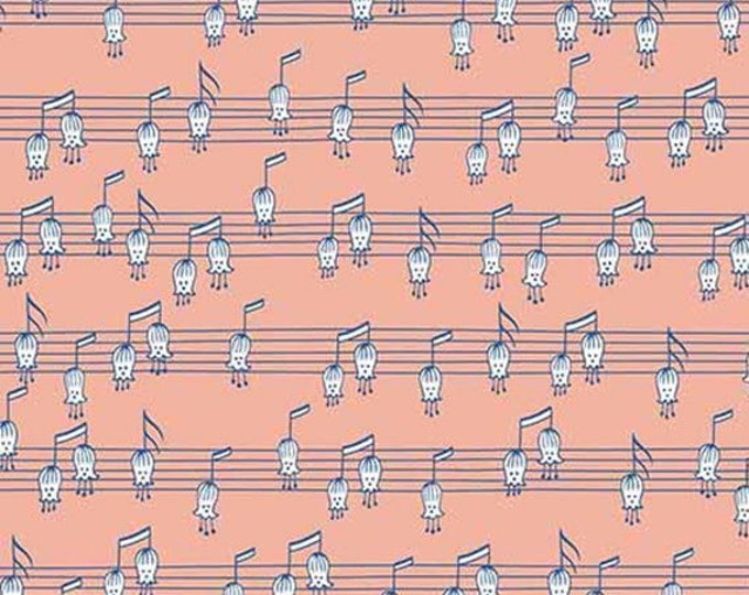 Ink & Arrow QT Melodie  Musical Notes pink  Cotton  Fabric 26310 C BTY