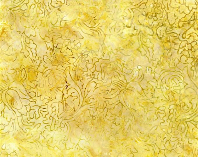 RJR Jinny Beyer Malam Batik Lemon Yellow Lampas Rose Floral Batik 2981-003 Fabric BTHY