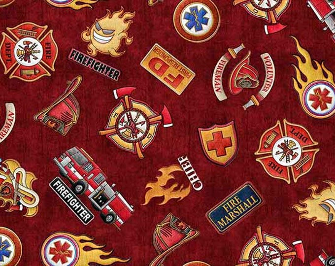5 Alarm Fire Fighter Fireman Truck Axe Flame Crimson Brick Red Badge 26295-R Fabric BTY