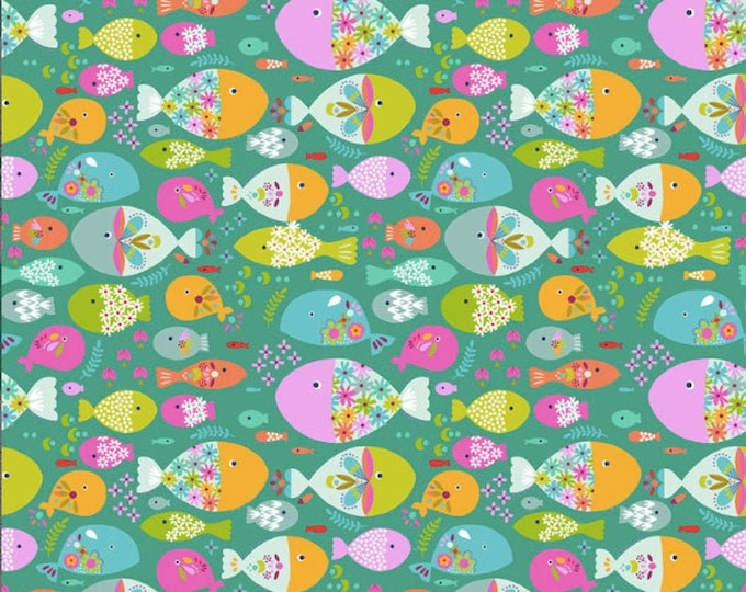 Blend Go Fish Maude Ashbury Swimming with the Fishes Fish Green Pink Fabric BTY