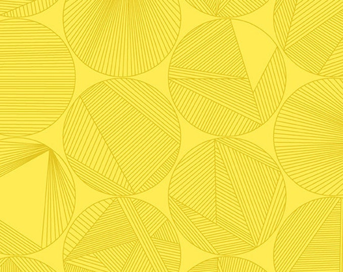 Andover Redux Giucy Giuce Petri Canary Yellow Circle Line Fabric BTY 8960-Y1