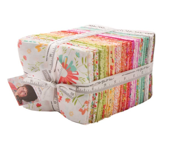 Moda Sunnyside Up Corey Yoder Bright Floral Pink Blue Green 38 Fat Quarters Fabric
