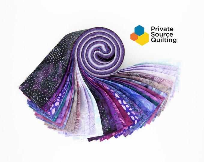 PSQ Exclusive Balilicious Batik AMETHYST Purple Pink Blue Violet Lilac Jelly Roll 40 2.5 Inch Fabric Strips
