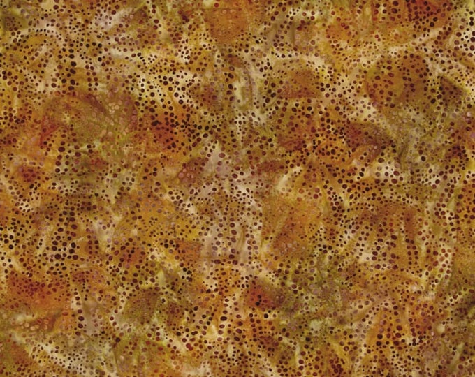 Kaufman Mckenna Ryan Tiger Fish Brown Gold Dot Dots Bubble Spray Earth Batik Fabric 15744-169 BTY
