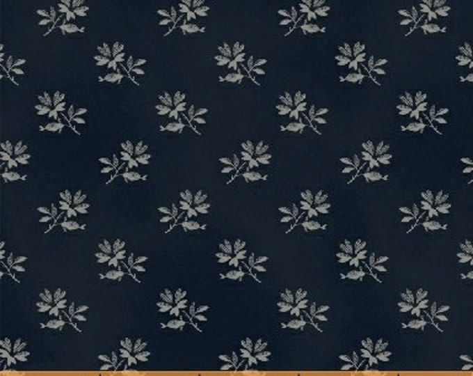 Windham The Blue and The Grey Navy Blue Gray Floral Leaf Flower Civil War Fabric 42150-1 BTY