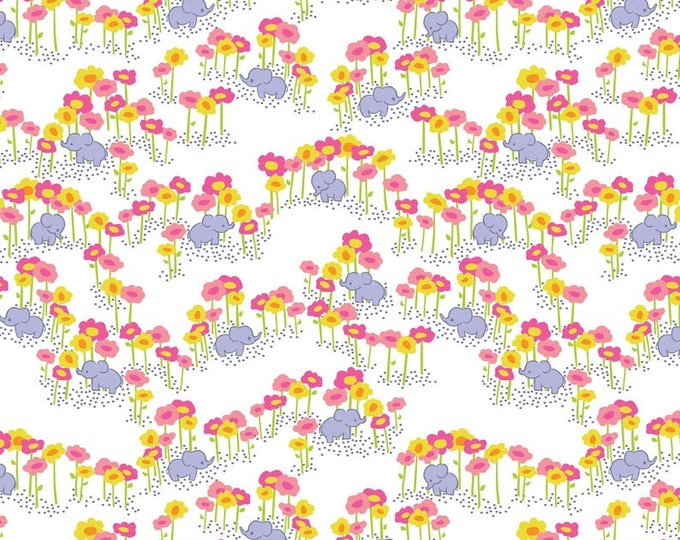 Blend Sundaland Jungle Katy Tanis Pygmy Elephants White Pink Purple Fabric BTY