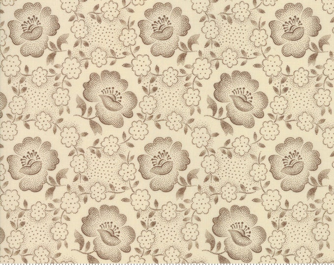 Moda Jos Shirtings by Jo Morton Cream Parchment Brown Floral Civil War Reproduction Fabric 38040-12 BTY