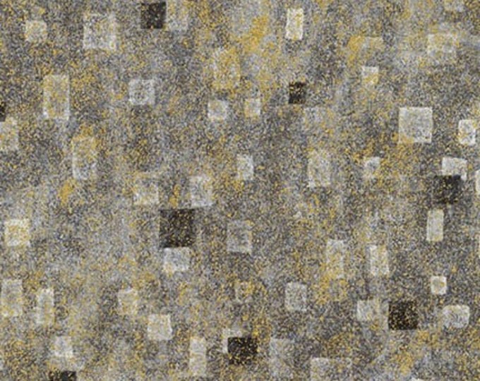 Robert Kaufman Gustav Klimt Grey Gray Charcoal Gold Cotton Square Gilded Fabric BTY 17181-184
